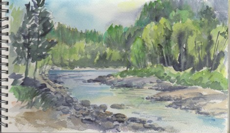 Similkameen River near Princeton BC — I was painting while having a picnic at our campground!