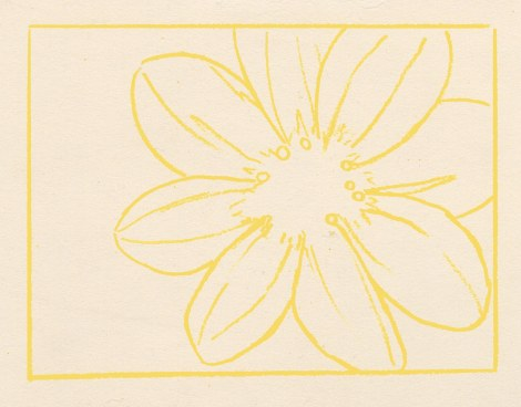 I started off with a drawing in yellow pencil, since that was going to be an underlying colour through most of the flower. Regular graphite pencils can smudge and cause your colours to get greyed wherever they connect. Pick a very light colour to sketch in, that will show up in most of your painting. You may need to use different colours for different areas. I photoshopped this a bit so it would show up more clearly; it was very pale.