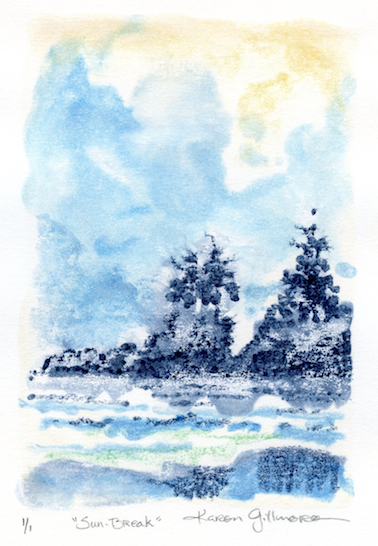 Sun Break — watercolour monoprint, 5x7 inches