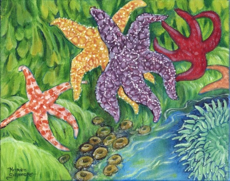 Dancing Starfish — acrylic, 8x10 inches Starfish always look like they are posing for dance moves to me, for some reason.