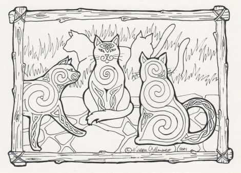 Celtic Cats Colouring Card number 1 — have fun,, and let me know how it turns out!