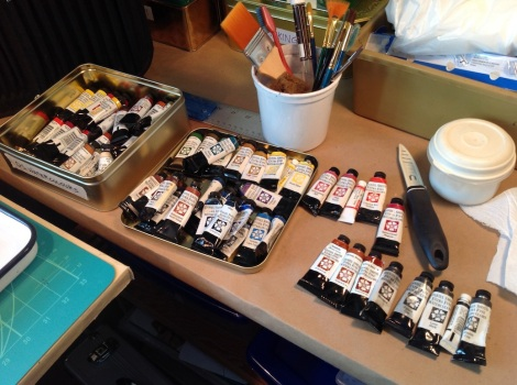 I'm using Daniel Smith watercolours, mostly. No, I won't use all these, I just wanted to take them out and see what I had in case I wanted to expand my usual palette.