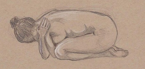 10 minute pose — Graphite pencil, Burnt Umber Coloursoft, White Prismacolour coloured pencils