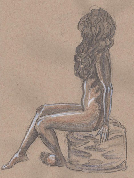 20 minute pose — Watersoluble graphite pencil and white marker
