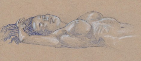 20 minute pose — Indigo blue Derwent Coloursoft, white Prismacolor coloured pencils