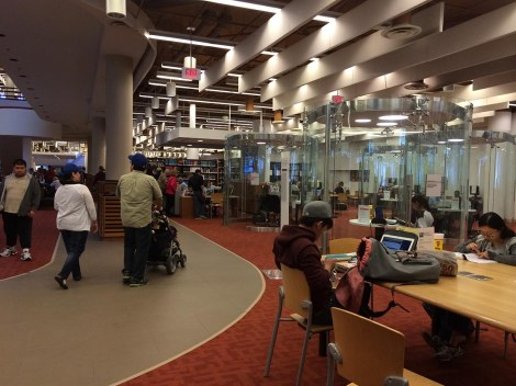 The study areas of the library were open as usual; researchers were coexisting remarkably well with festival-goers. I loved these glass study areas.