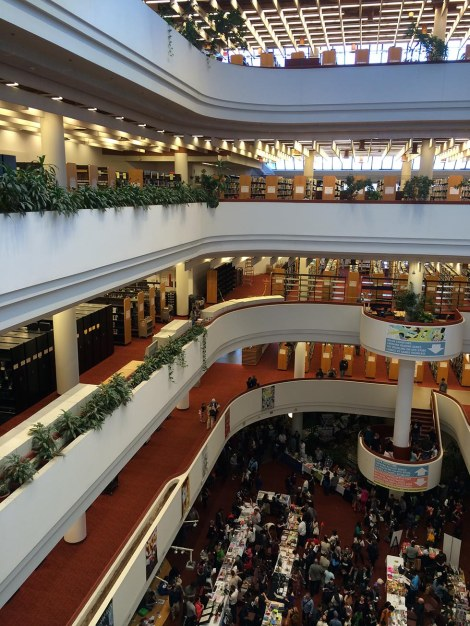 The view from the fourth floor. The Toronto Reference Library is a beautiful space for an event like this.