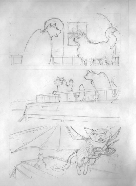 Here's the pencils. I did these on cartridge paper so that I could trace over them on the lightbox for the inking. When I scanned them, I got a lot of shadows, because I didn't shut the scanner lid to press them down. This was OK because all I wanted was a rough record in case anything happened to the original pencils, but normally you wouldn't want to do this.