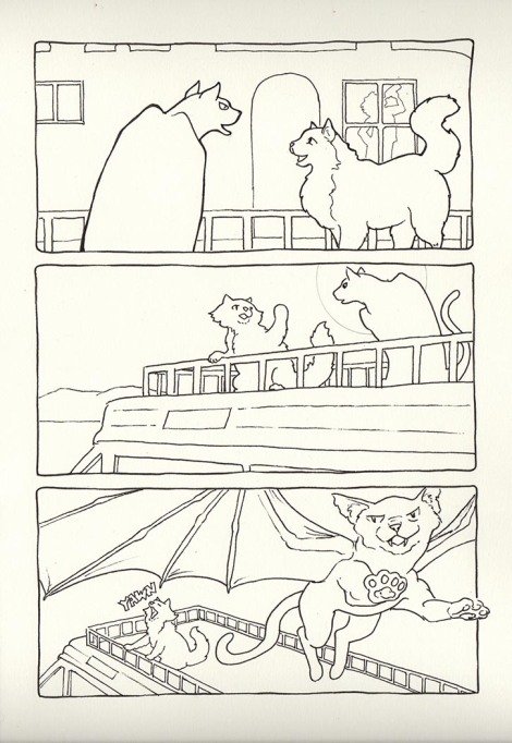 Here is the inked version, on Opus Watermedia Paper. It is slightly off-white, thus the colour. Note the difference in the position of the window and Sven's shadow in it from the pencils (top panel); in the bottom panel, Rocky's paw has been shifted outside the panel border to make him seem to be bursting out of it. (This was Ken's idea)