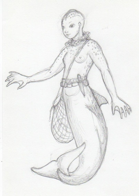 Today's sketch: While I was drawing yesterday's mer-people, I started thinking about practicalities. For one thing, why would they have all that hair if they lived underwater? It would impede their swimming, and constantly be tangled. Surely they would cut it short, or more likely have evolved hairlessness. Perhaps a cranial ridge to cut through the water? And wouldn't they develop some kind of protective coloration? They wouldn't be skinny, they'd  need a rounder body shape to keep in the heat. Oversized hands with webbing would help them move through the water. And being civilized, they'd need something to carry stuff around in.  The ruff around the neck is a symbiotic-gill sea creature that allows them to breathe underwater. They can also still breathe air in the usual way, but first they have to, uh, eject all the water from their lungs. They keep a few extras of these around at all times in case they have to slap them onto drowning sailors. Oops, that might be a spoiler!