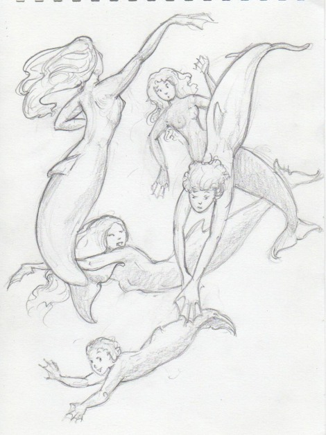 Sunday's sketch: I wanted to try out some different positions, and see how the dolphin tails would work.