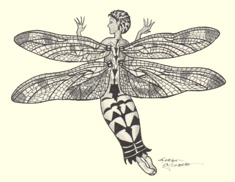 Dragonfly Fairy — Micron Pigma pens and graphite pencil.