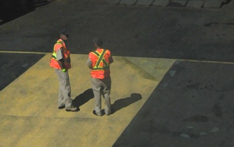 """Then I zoomed in on the ferry workers, and tried to make them look painterly. This is """"dry brush"""" which actually looks like an oil or acrylic painting to me."""