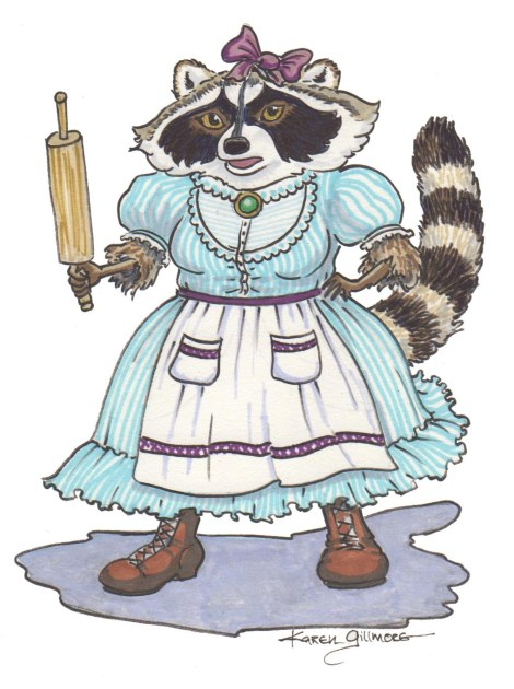 Ma Raccoon, Pitt brush pens and Prismacolor markers (yes, I've been listening to Iris. If she's lucky, maybe her next story will be in colour!)