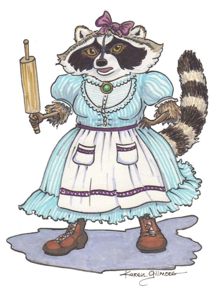Ma Raccoon, Pitt brush pens and Prismacolor markers. She's a loving but no-nonsense frontier mama!
