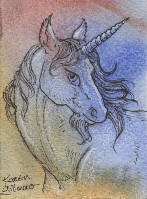 I wanted to try something a little more delicate here, so I just used the pen and a bit of white Prismacolor pencil. Unicorns are the same as dragons, maybe even more so — when I was young I was unicorn crazy (an offshoot of being horse-crazy), so I can draw these even when the muse is AWOL.