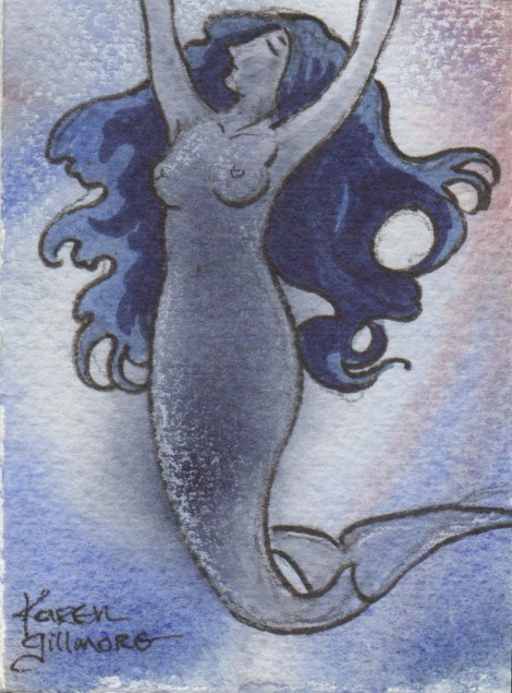 Since mermaids are fresh in my mind, I immediately saw the opportunity to draw one over the patterns that were already formed from the watercolour. I suppose I'm going to be doing enough mermaids that they will also be a staple somnambulant subject!
