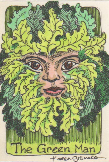 The Green Man is an ancient symbol of the life force in nature (to make a long story very, very short). I've drawn lots of pictures of him, but never one this small!