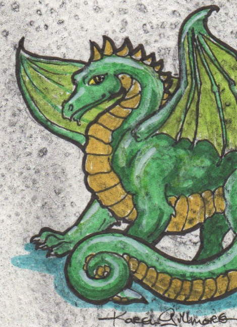 The first one I tried was a dragon. I can draw dragons in my sleep, I've done so many of them. I started all of these with some pre-toned cards I had sitting around — I cut up watercolour paintings that didn't work out, or wash demos from my classes, into various small sizes so I'll have some handy to draw on. It just so happened I had some in trading card size already, perfect! This one is Pigma Micron for the outlines, and Pitt brush markers for the colour. If you try this, know that the markers will dissolve some of the watercolour; my yellow got a bit muddier than I like here. But it's still a cute little dragon.