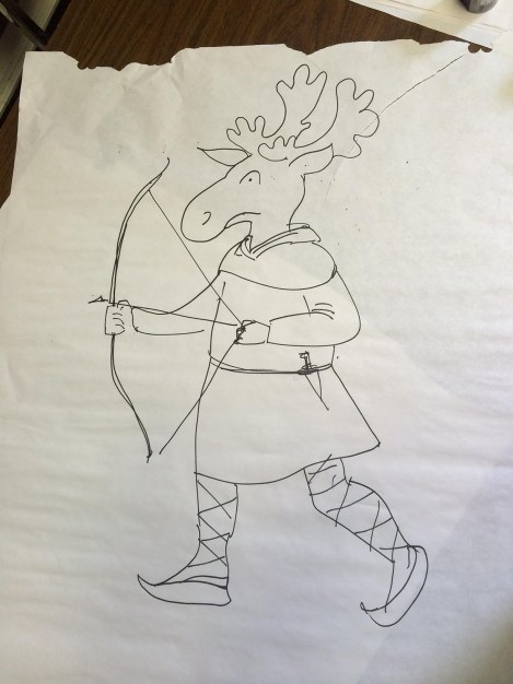 I did a large, two minute drawing in a workshop that was mostly attended by kids and teens. I asked them to shout out an animal. I drew the head. Then I asked them for a time period, and drew the costume. A new hero emerges — Medieval Moose! He'll get made into one of my more developed sketches when I return — I like him already.