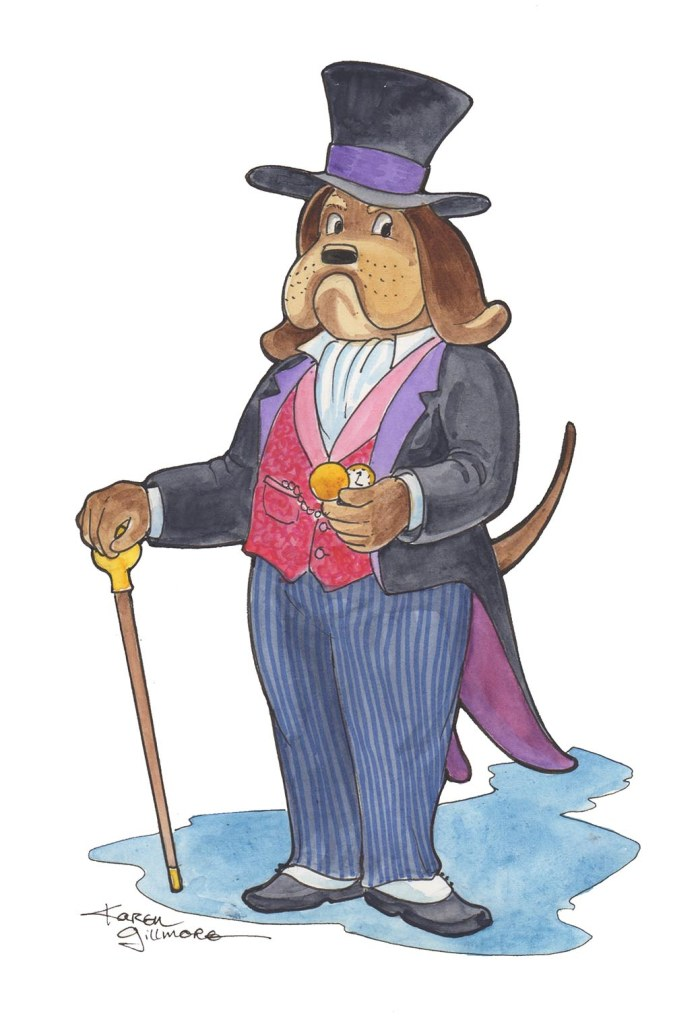 Mr. Phineas Wintergreen-Smythe III — Pigma Micron pen, watercolour, markers. He's used to being top dog in business.
