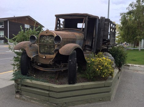 This old beauty still maintains a bit of dignity as a garden ornament in front of the hotel. There was also a giant cared Mountie, about two stories high, but it started to rain and we ran for cover.