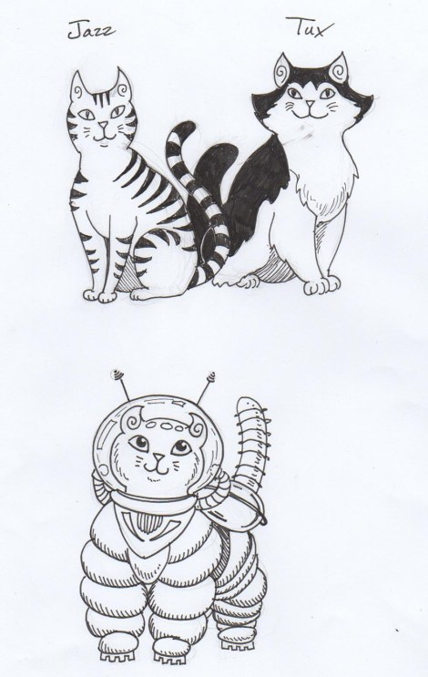 And finally, our heroes in ink. I don't have a name for the alien kitty yet.