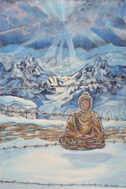 Nothing Sacred is a post-apocalyptic tale set in Tibet. Here I wanted to capture the feeling of the book without actually representing any of the scenes. Notice the Buddha levitating? All kinds of symbolic-ness going on there...