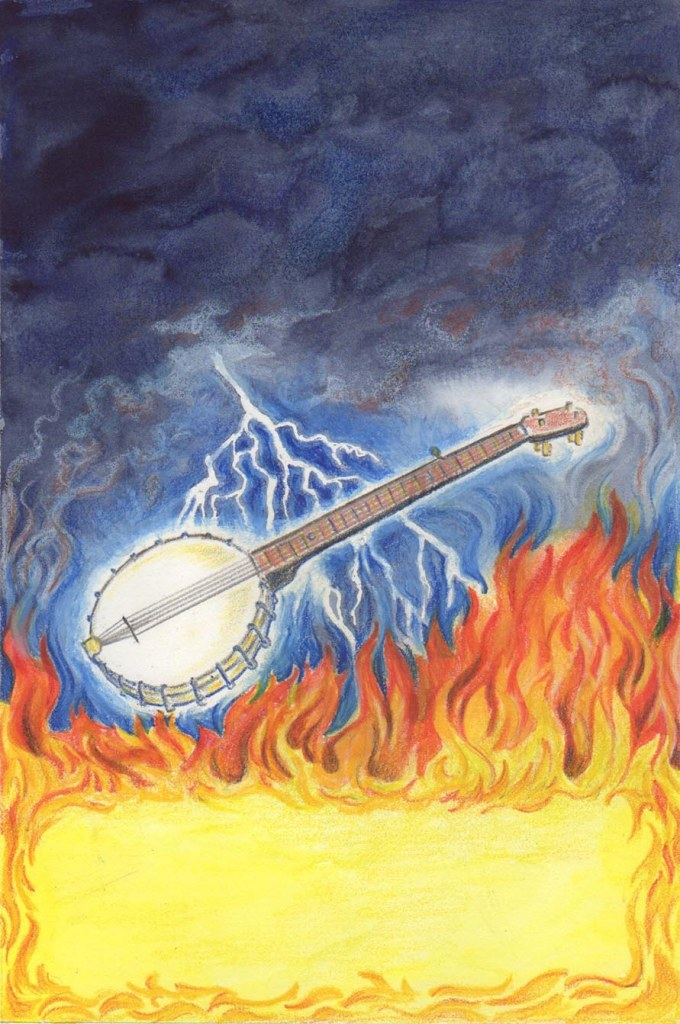 The Phantom Banjo is a magic banjo, infused with the soul of its last owner — and the devil and all his minions are out to kill it! I wanted to include some of the dangers the banjo faced, and still make it look invincible.