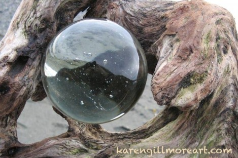 driftwood cast ashore cradles a bubble of time encapsulated