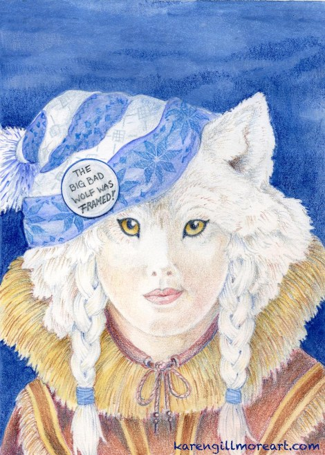 """The Big Bad Wolf Was Framed!"" — watercolour, coloured pencil on paper, approximately 7x10 inches"