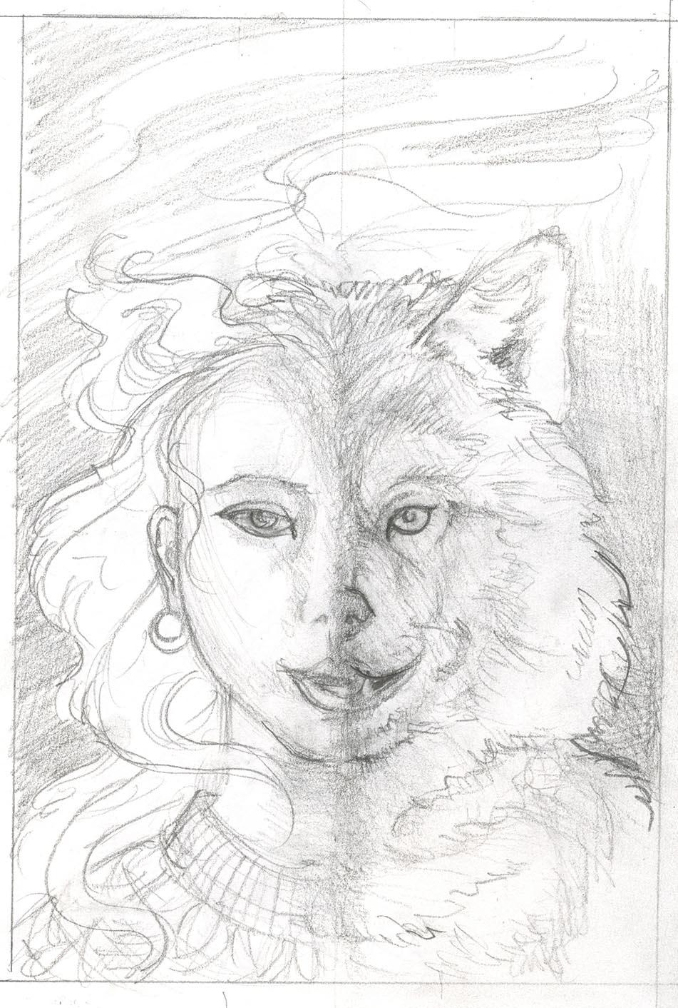 Half man half wolf drawing