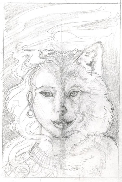 I tried one where she is half-and half; but no self-respecting shapeshifter would change from one side to the other! Besides, it looks weird. What? What's weird about a girl turning into a wolf? Happens all the time in stories.