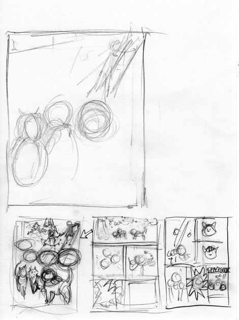 This is the full sheet of paper, which gives you a sense of the size of the thumbnails at the bottom.  The larger sketch was another attempt at the first panel that I didn't finish.