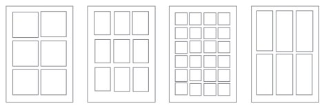 The basic six-panel layout allows generous, square spaces for the art. A nine-panel grid's smaller, portrait-style panels allow more action per page. This sixteen-panel grid is great if you want lots of action, few words, and very simple art. This is another way to fit six panels on a page. Think tall, thin compositions!