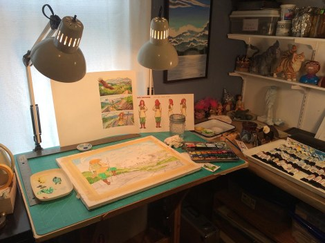 The corner of my studio with the windows. The light was lovely today.