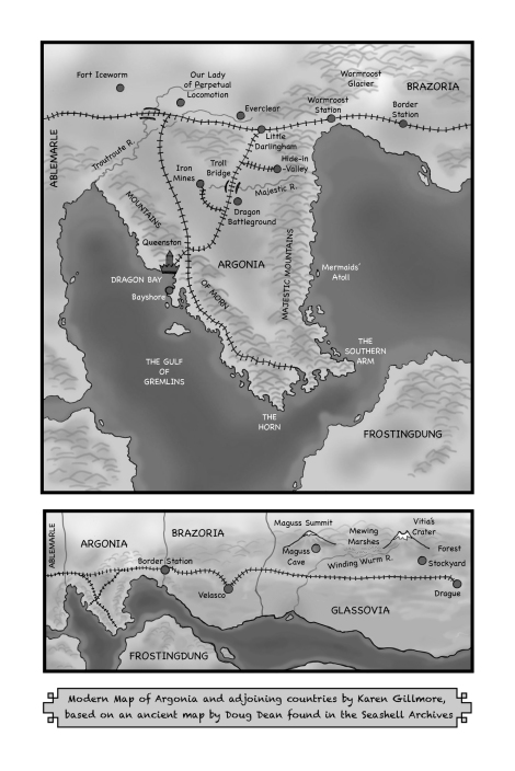 The greyscale version of the map, for use in print books. One of the challenges was to keep it readable both in colour and greyscale.