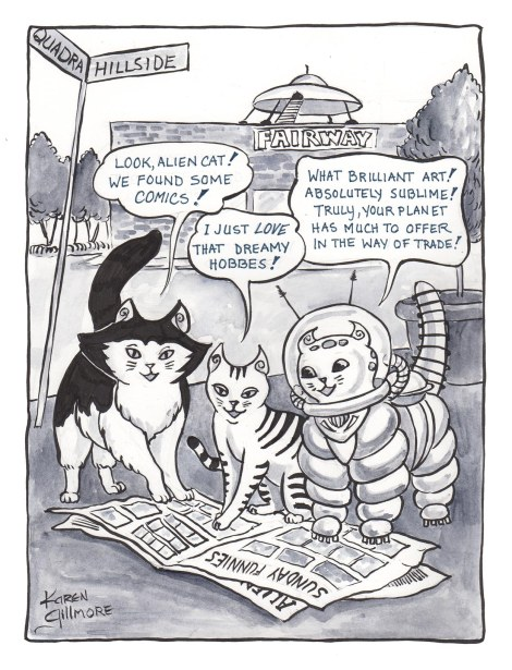 Alien cat discovers comics!