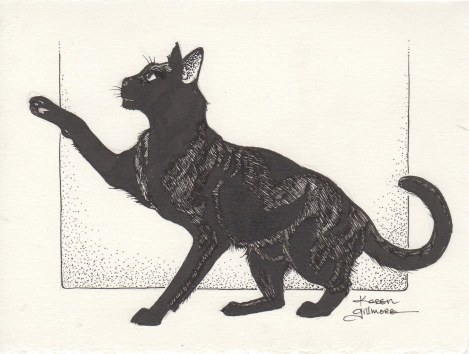 The first black cat. I struggled a bit to get the balance on this, but finally found it, I think. It was a very glossy kitty!