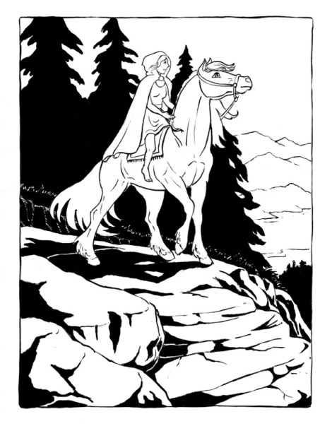 I've been having a long conversation on my facebook page about turning this into a colouring book page — most everyone agrees that it would be better to colour without the black. Too bad I didn't scan it before I inked the shadows! I'll have to re-draw it for the colouring book.