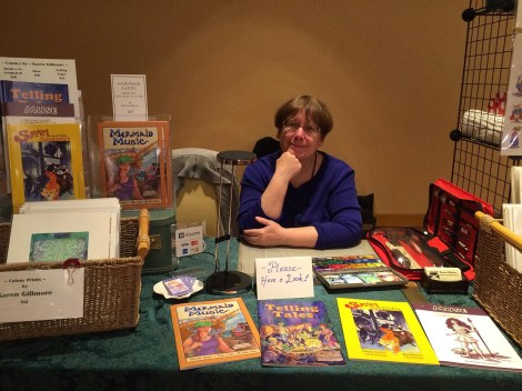 The obligatory pose-with-the-art. I was so tired! But happy to be set up.