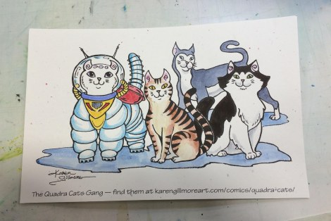 I also coloured one of the Quadra Cats colouring cards for Katrina, and got my first look at what they would look like in colour! I'd been planning to do the original for the demo, which I did later, but this gave me a chance to make sure I'd like the colours first.