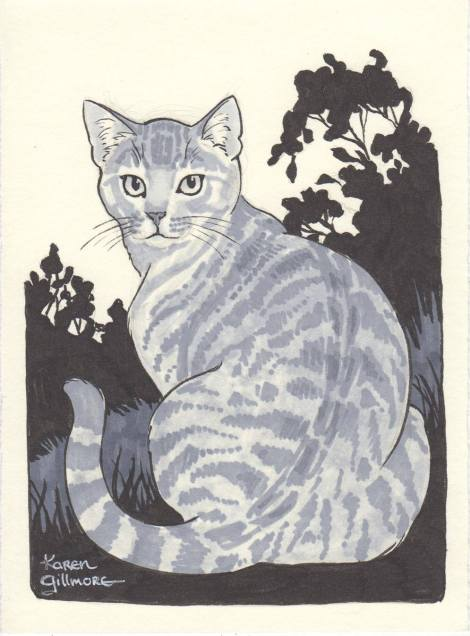"""Tabby in the Garden"" — one of my Inktober cats that I hadn't posted here at the time. Brush pen and Prismacolor markers"