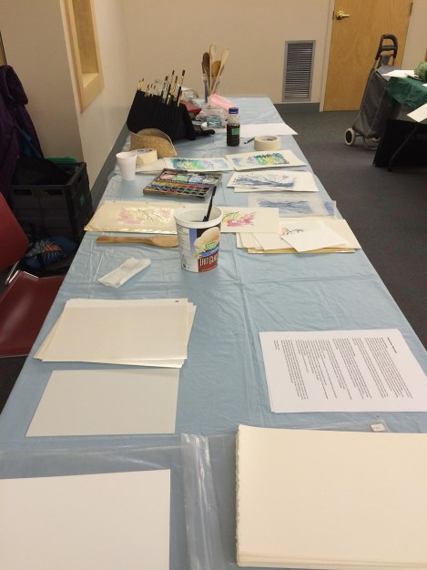 My table set-up. I had two tables to spread out on, what luxury!