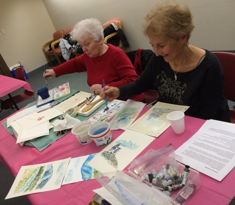 These ladies were going about their painting with such verve! This was a skilled group of artists, a real treat to work with, as I usually teach beginner classes.