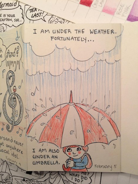 I really was feeling kind of glum, and it was pouring down rain, but I was much happier when I got done drawing this!
