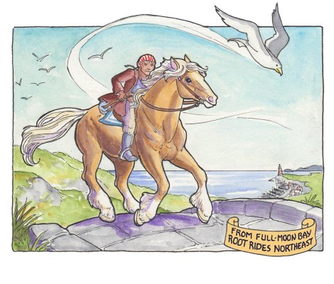 Although Mermaid Music is a sea comic, Root had to ride overland, so I got to draw a horse! I should put more horses in the story, it was fun.