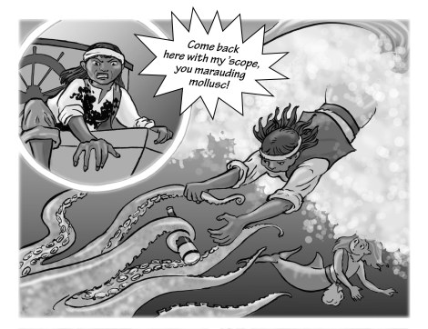 The story is about Root from Mermaid Music, in her younger days. I got to draw a whole lot of octopus tentacles!