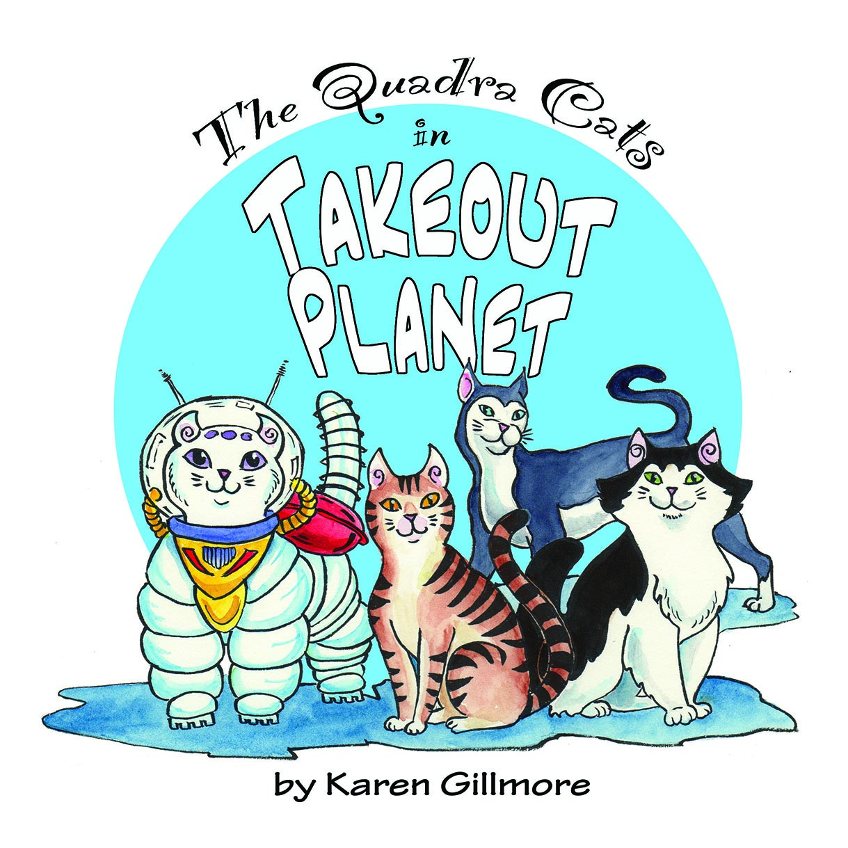 The cover of Takeout Planet, the first book in the Quadra Cats series