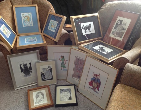 All the work for my Feline Fancies show, in my living room before hanging it at the venue!